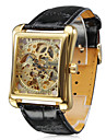 Men\'s Watch Auto-Mechanical Square Gold Dial Hollow Engraving