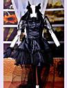 Une Piece/Robes Gothique Lolita Cosplay Vetrements Lolita Noir Dentelle Manches courtes Moyen Robe Casque Gants Noeud Queue Pour Femme