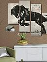 mur de cheval style moderne horloge dans la serie des 4 toile