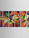 Hand-painted Abstract Oil Painting with Stretched Frame - Set of 6