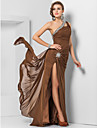 Formal Evening/Military Ball Dress - Brown Plus Sizes Sheath/Column One Shoulder Floor-length Chiffon