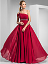 Prom / Formal Evening / Military Ball Dress - Burgundy Plus Sizes / Petite Sheath/Column One Shoulder Sweep/Brush Train Chiffon