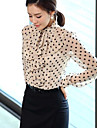 Kvinners Polka Dots skjorte med Ruffles