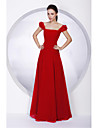 Floor-length Chiffon Bridesmaid Dress A-line / Princess Off-the-shoulder / Square Plus Size / Petite with
