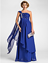 A-line Plus Sizes / Petite Mother of the Bride Dress - Royal Blue Floor-length / Watteau Train Sleeveless Chiffon