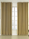 Two Panels Neoclassical Solid Yellow Bedroom Polyester Panel Curtains Drapes