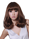 Capless Long Light Brown Wavy Synthetic Wigs Full Bang