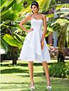 A 라인 / 공주 lanting 플러스 웨딩 드레스 크기 - 흰색 무릎 길이의 연인 새틴 / 얇은 명주 그물