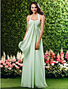 Lanting Bride Floor-length Chiffon Bridesmaid Dress Sheath / Column Halter / Sweetheart Plus Size / Petite with Criss Cross
