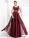 Formal Evening/Military Ball Dress - Burgundy Plus Sizes Sheath/Column Square Floor-length Chiffon/Stretch Satin