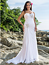 Sheath/Column Plus Sizes Wedding Dress - White Court Train Sweetheart Chiffon