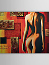 Pictat manual Oameni / Culoarea pielii Un Panou Canava Hang-pictate pictură în ulei For Pagina de decorare