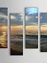 HANDMÅLAD Landskap Fyra paneler Kanvas Hang målad oljemålning For Hem-dekoration