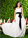 Lanting Bride® Sweep / Brush Train Chiffon Junior Bridesmaid Dress Sheath / Column Spaghetti Straps Empire withBow(s) / Draping / Sash /