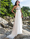 Lanting Bride® Sheath / Column Petite / Plus Sizes Wedding Dress - Classic & Timeless / Glamorous & Dramatic Sparkle & Shine Sweep / Brush