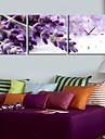 horloge de mur violet de style moderne en toile 3pcs
