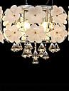 modern kristall 6 ljus LED hänge dekorerat med blomma