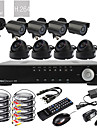 Ultra 8ch D1 Real Time H.264 CCTV DVR Kit (8pcs 420TVL Night Vision CMOS kameraer, indendørs og udendørs)