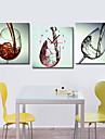 Horloge murale verre de vin de style moderne en toile 3pcs