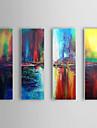 Dipinta a mano Astratto / Paesaggi astratti Tre Pannelli Tela Hang-Dipinto ad olio For Decorazioni per la casa