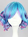 Perruques de lolita Punk Degrade de Couleur Court Boucle Bleu Fuchsia Perruque Lolita  35 CM Perruques de Cosplay Mosaique Perruque Pour