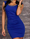 Solid Bodycon Dress with Gold Chain Decoration