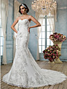 Mermaid / Trumpet Spaghetti Straps Chapel Train Tulle Wedding Dress with Beading Appliques by LAN TING BRIDE®