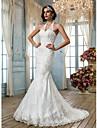 Trumpet/Mermaid Plus Sizes Wedding Dress - Ivory Court Train Halter Tulle