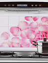 75x45cm rosa rosmönster Oljebeständig Water-Proof Hot-Proof Kitchen Wall Sticker