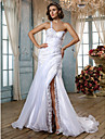 Mermaid / Trumpet One Shoulder Sweep / Brush Train Organza Wedding Dress with Beading Appliques Button Criss-Cross Side-Draped Split by