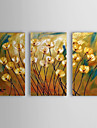 Hand Painted Oil Painting Floral Yellow Popies with Stretched Frame Set of 3 1309-FL0980