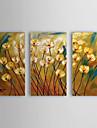 Dipinti a mano olio pittura floreale Popies giallo con telaio allungato Set di 3 1309-FL0980