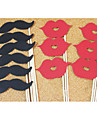 Wedding Décor Moustache and Lip Photo Booth Props - 12 Pieces
