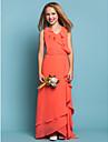 Lanting Bride® Asymmetrisch Chiffon Junior bruidsmeisjesjurk Strak/kolom V-hals Naturel met Gerimpeld / Sjerp / Lint / Gelaagde ruches