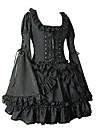 Longue Flare manches courtes en coton noir robe lolita gothique