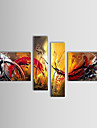 Hand-painted Oil Painting Abstract Oversized Wide Set of 4
