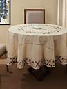 Beige Melange Lin/Coton Rond Nappes de table