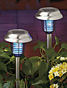 Set Of 2 Solar Stainless Steel Mosquito Zapper Stake Ljus Garden Path Belysning (Cis-57189)