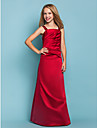 Floor-length Satin Junior Bridesmaid Dress A-line Straps Dropped with Side Draping