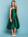 Lanting Bride Asymmetrical Taffeta Junior Bridesmaid Dress A-line Square / Straps Natural with Sash / Ribbon