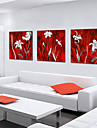 Sträckta kanvas botanik Vita kronblad Set av 3