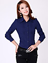 Mulheres Camisa Formal Simples Todas as Estacoes,Solido Azul / Branco Manga Longa Media