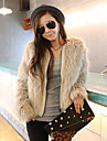 Long Sleeve Collarless Faux Fur Party/Casual Jacket
