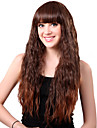Capless lang syntetisk Brown Taco Hair Wig Full Bang