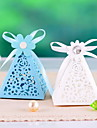Pyramid Floral Cut-out Favors Boxes- Set Of 12(More Colors)