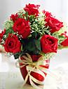 "8.75 ""Crăciun Red Roses aranjament cu ceramica Vaza"