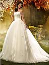 A-line/Princess Plus Sizes Wedding Dress - Ivory Court Train Spaghetti Straps Tulle