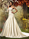 Fit & Flare Plus Sizes Wedding Dress - Ivory Chapel Train One Shoulder Satin/Tulle