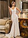 Lan Ting Trumpet/Mermaid Wedding Dress - Ivory Court Train V-neck Satin/Tulle/Lace/Organza