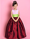 Lanting Bride ® A-line / Princess Floor-length Flower Girl Dress - Taffeta Sleeveless Jewel with Ruching